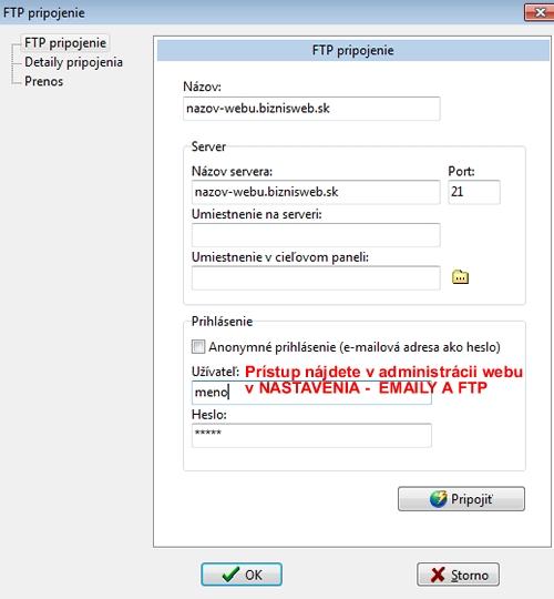 pridat FTP pripojenie