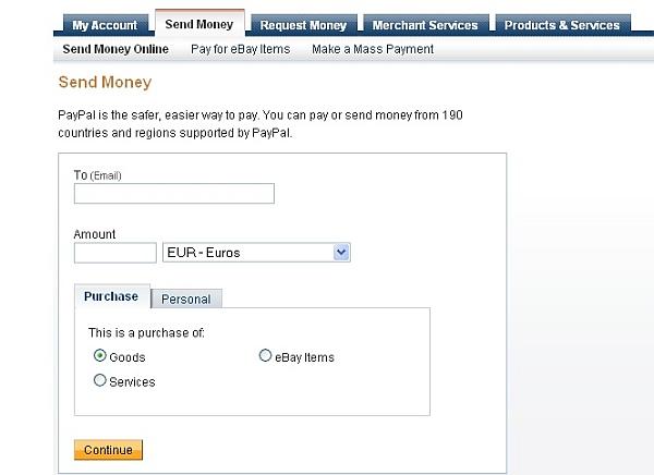 poslanie peňazí priamo cez PayPal